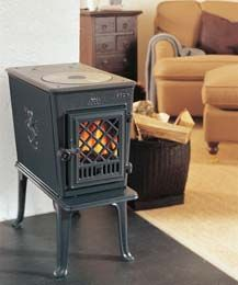 Tiny wood stove.