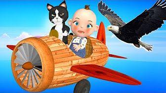 Little Baby Playing Three Little Kittens   Eagle Attacks Kitten   Little Boy Jet Flying Adventure - YouTube