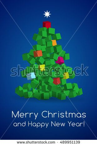 Modern Christmas Tree made with cubes. Vector Illustration. Christmas card.