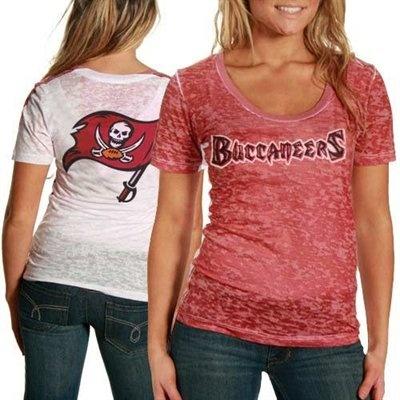 Tampa Bay Buccaneers Ladies Red-White Sublimated Sheer Burnout Premium T-shirt