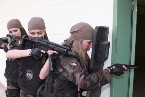 "Turkish police force female special operation unit.  Note ""gangsta"" pistol handgrip."