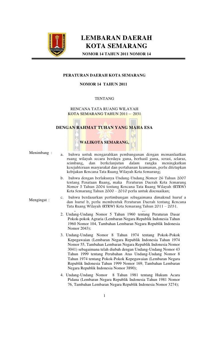 LEMBARAN DAERAH                            KOTA SEMARANG                            NOMOR 14 TAHUN 2011 NOMOR 14          ...