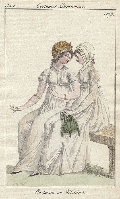 Two ladies gossiping. Costume parisien, an 8