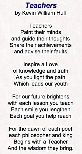 Teacher Appreciation Poem - pinning in memory of a great teacher to whom I was honored to call mom.