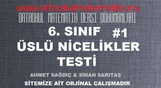 6. SINIF MATEMATİK ÜSLÜ NİCELİKLER TESTİ 1