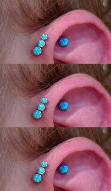 Blue Opal Triple Forward Helix Piercing at MyBodiArt