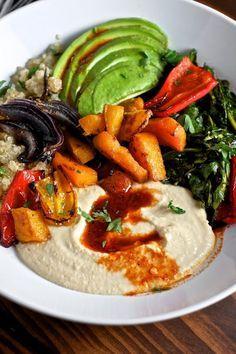 Quinoa Power Bowls with Avocado, Hummus and Smoked Paprika Vinaigrette | Sweet Salty Tart
