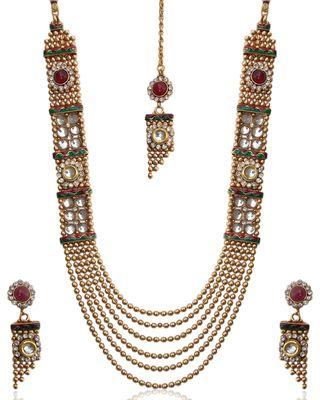 Unique and stylish kundan necklace set by adiva