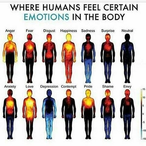 Notice how almost the entire body is portrayed as 'light up' when you're happy! This says a lot. As well as most of the body being affected by depression. Heavy