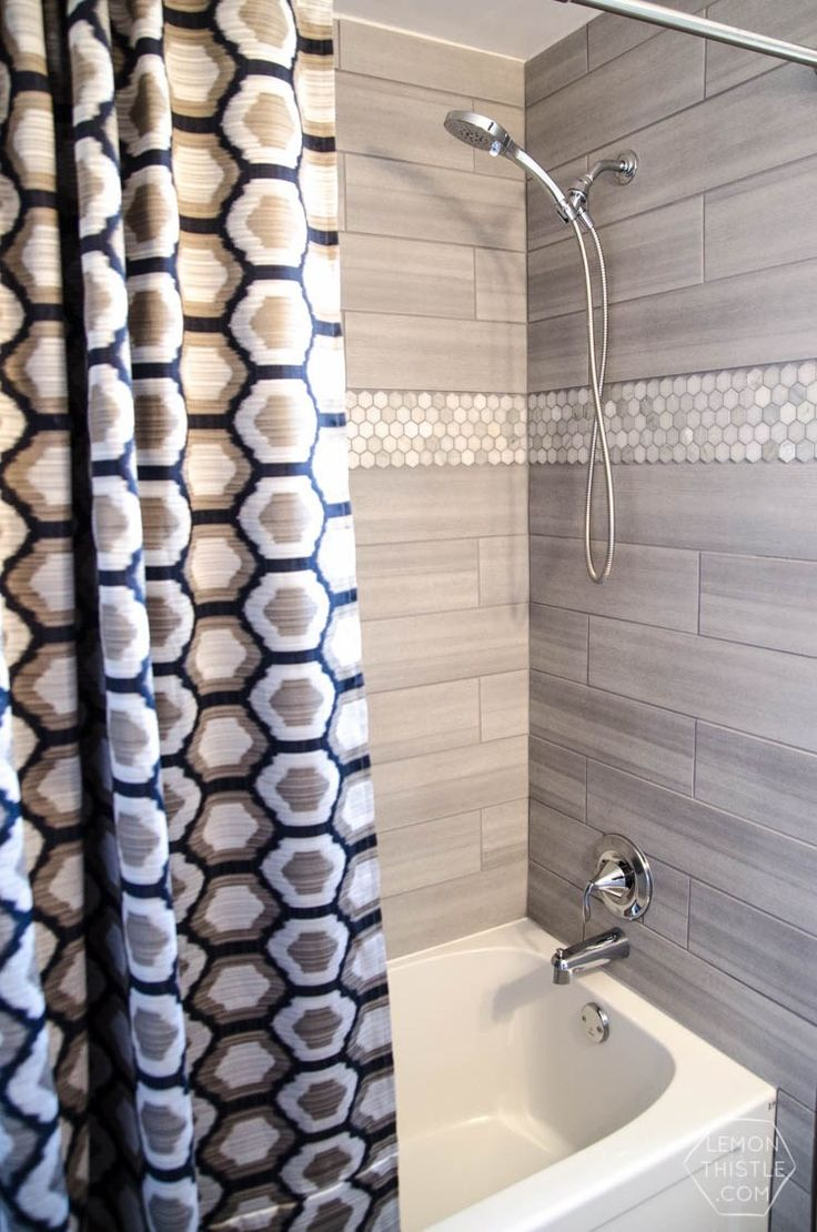 DIY Extra Long Custom Design Shower Curtain  I Love How High End This Looks!