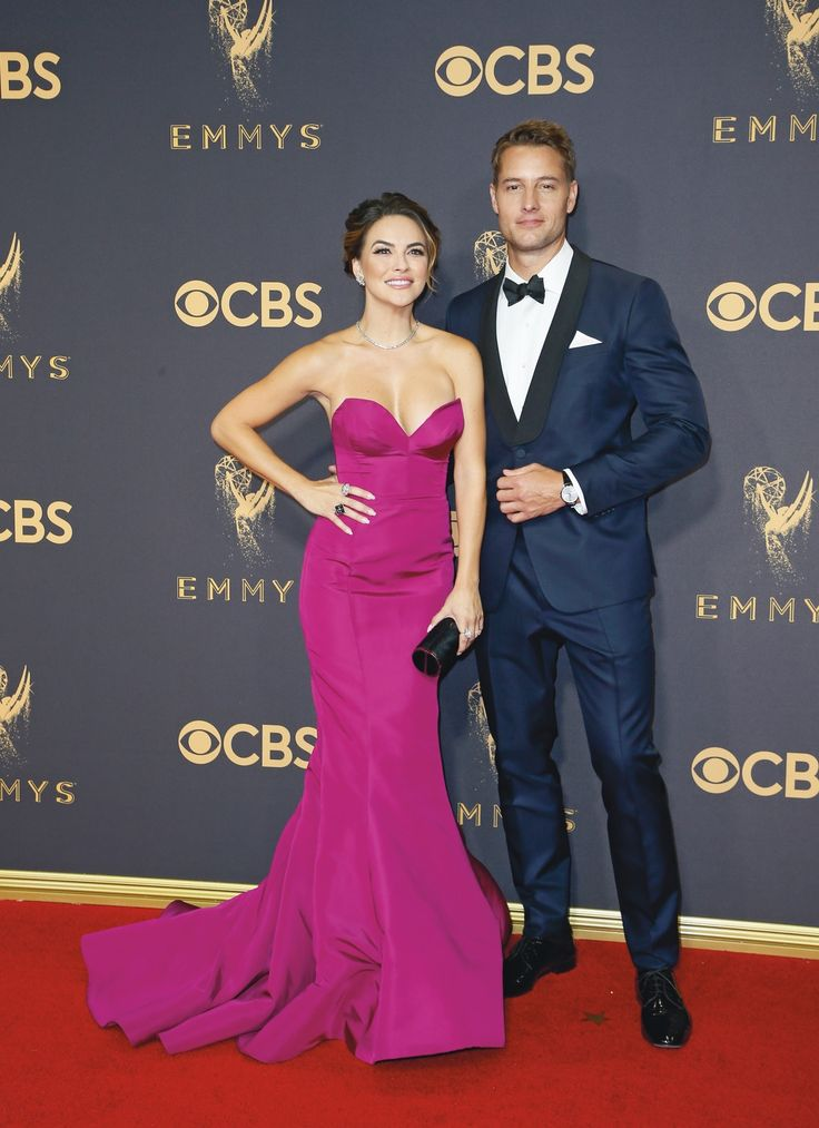 "LOS ANGELES, CA - SEPT 17, 2017: Chrishell Stause, left, and Justin Hartley arrives at the 69th Primetime Emmy Awards on Sunday, Sept. 17, 2017, at the Microsoft Theater in Los Angeles. (Photo by Danny Moloshok/Invision for the Television Academy/AP Images) | VIE Magazine - December 2017 | The Sophisticate Issue | ""La Scene: Where It's At"" 