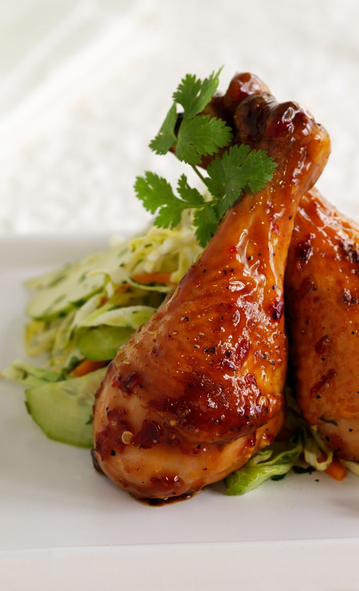 Vietnamese Caramelized Chicken Drumsticks with Apple Slaw – ...Arrange drumsticks in single layer in shallow glass dish. In small bowl, whisk together caramel sauce, soy sauce, lime juice, chili garlic sauce, ginger and pepper. Pour mixture over chicken, turning to coat. Let chicken marinate for about 20 minutes... Click the image to view the full recipe. #75minmeal
