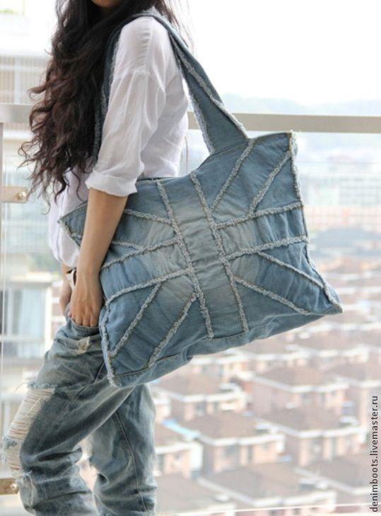 Купить Сумка из джинсы-7 - голубой, однотонный, джинсовый стиль, джинс, джинсовые украшения