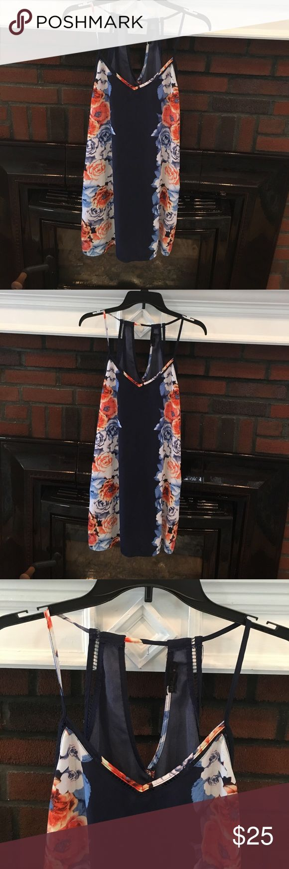 Flowery navy summer dress.  Perfect for a Bbq. Flowery navy summer dress.  Perfect for a Bbq!!! Dresses