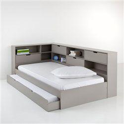 Lit avec tiroir, étagères et sommier, pin massif, Yann La Redoute Interieurs - Style studio et Ado