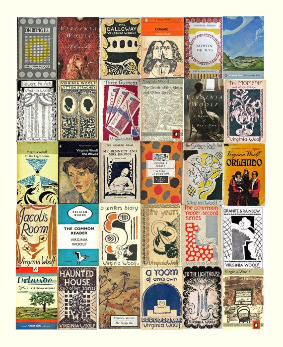 Montage of Virginia Woolf Book Covers. 10 x 8 Print by David Rhys Jones. $20     This work is a montage of Virginia Woolf book covers from our collection. Many of the covers were done by Virginia's sister, Vanessa Bell.   .