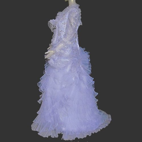 Unique White Long Sleeve Winter Victorian Flamenco Wedding Dress Gown SKU-303012