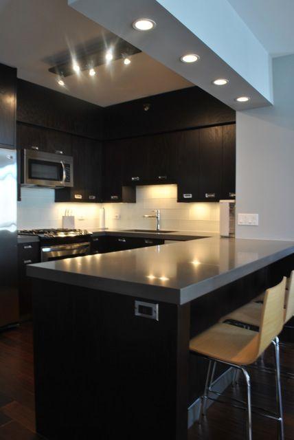 Glass Tile Backsplash and Quartz Countertops
