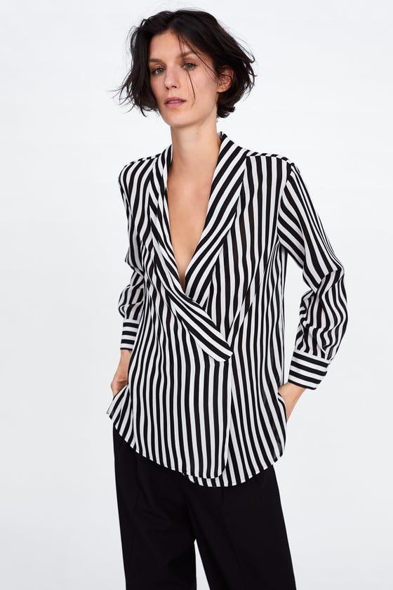 Mujer Zara Banda Rayas Rebajas CamisasBlusas Camisa