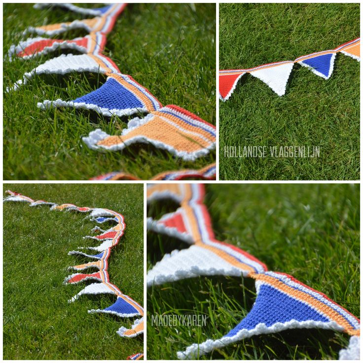 Deze vlaggetjes met friebelrandje in de koninklijke kleuren heb ik gehaakt volgens patroon van www.jipbyjan.nl echt heel leuk werk, zo'n vlaggenlijn maken