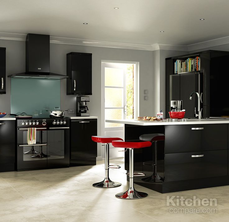 1000 images about contemporary black gloss kitchens on for Black gloss kitchen cabinets