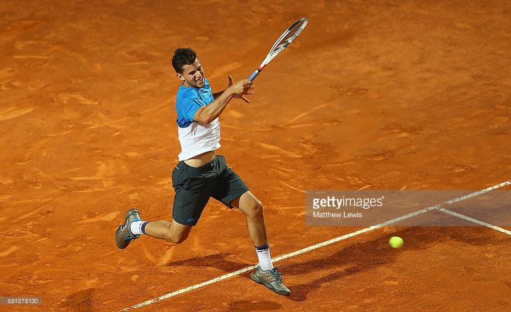 Dominic Thiem of Austria in action against Kei Nishikori of Japan during day six of the The Internazionali BNL d'Italia 2016 on May 13, 2016 in Rome, Italy.
