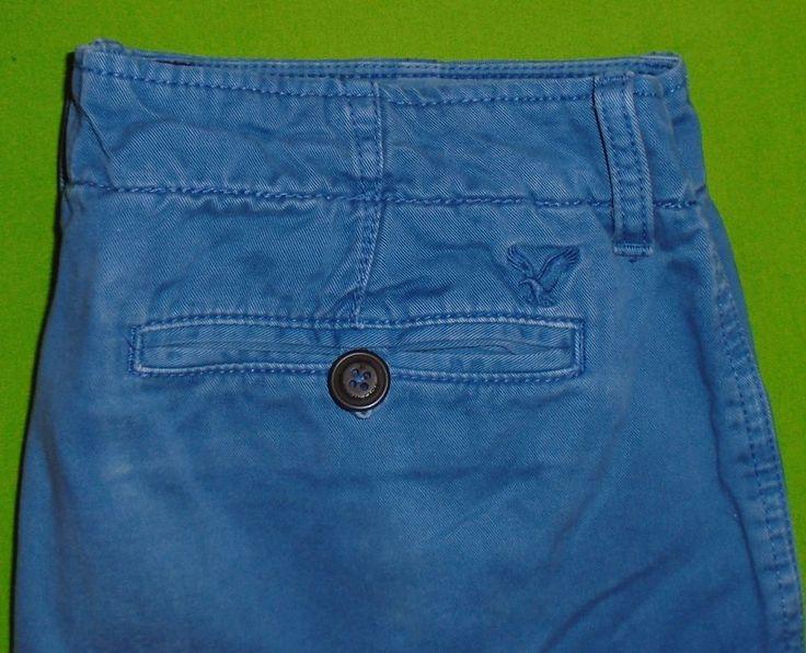 American Eagle Slim Fit Blue Khaki Pant Flat Front Embroidered Eagle Men 34x30 #AmericanEagleOutfitters #KhakiFlatFront