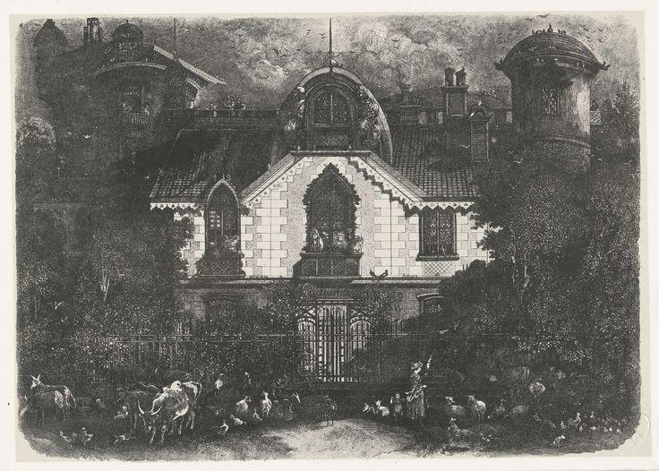 Rodolphe Bresdin | Huis met toren achter een hek en herderin met vee, Rodolphe Bresdin, 1871 | Huis met een toren achter een hek. De gevel van het pand steekt wit af tegen de donker uitgewerkte omgeving. Twee gebeeldhouwde figuren sieren de gevel aan weerszijden van het dakraam onder een halfronde daklijst. Op de balkons staan vrouwen en overal zitten en vliegen duiven op en rond het huis. Voor het hek loopt een herderin met een spinrokken en een kind omringd door vee.
