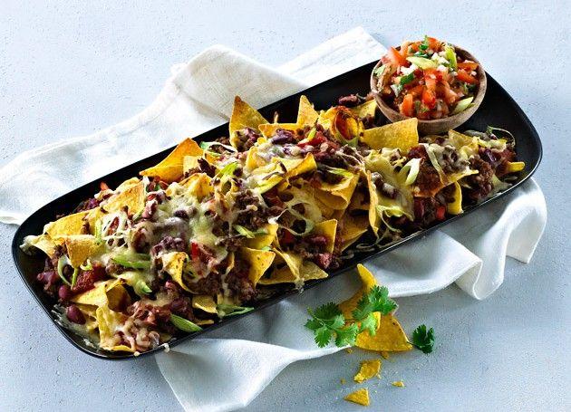 Gratinerte nachos i en form