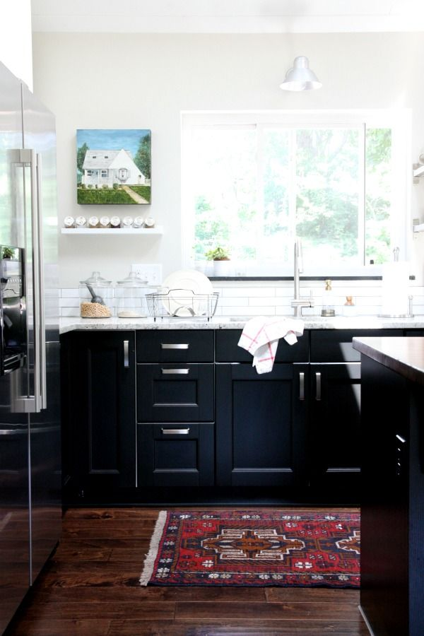 The Cabinetry Is Ikea Ramsjö Black Brown Base Cabinets From Get Go I Had My Heart Set On A Tuxedo Kitchen Dark Lowers Whi
