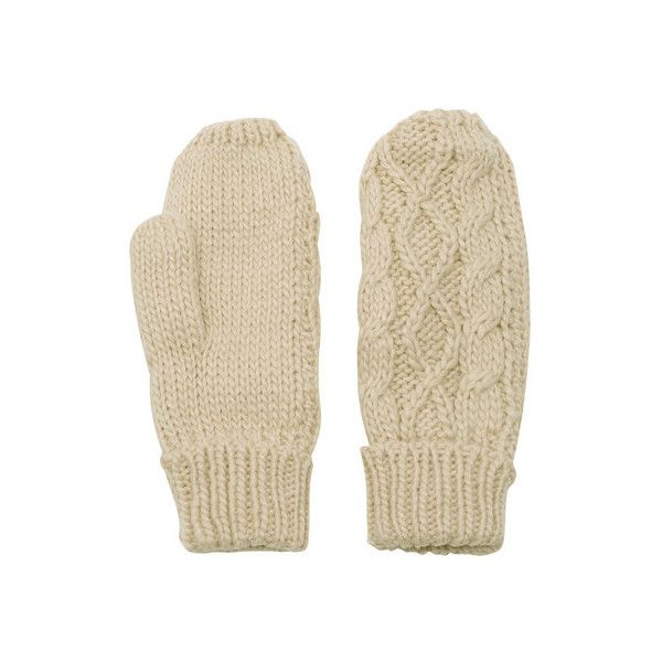 Beige Cable Knit Gloves (£4.80) ❤ liked on Polyvore featuring accessories, gloves, beige gloves and cable knit gloves