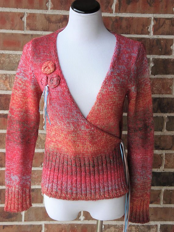 Rainbow Pink Sweater Cardigan Long Sleeve Sweater Blue Red