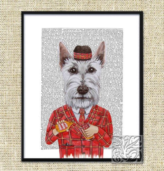 Funny Westie dog cross Scottie dog painting whisky and glass to hand, Tartan hat Dictionary Art Print Poster Unique 8 x 10 and 12 x 16 inch