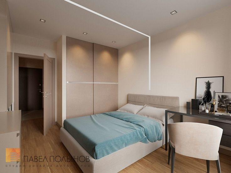 Фото: Дизайн спальни - Интерьер однокомнатной квартиры в современном стиле, ЖК «Царская столица»