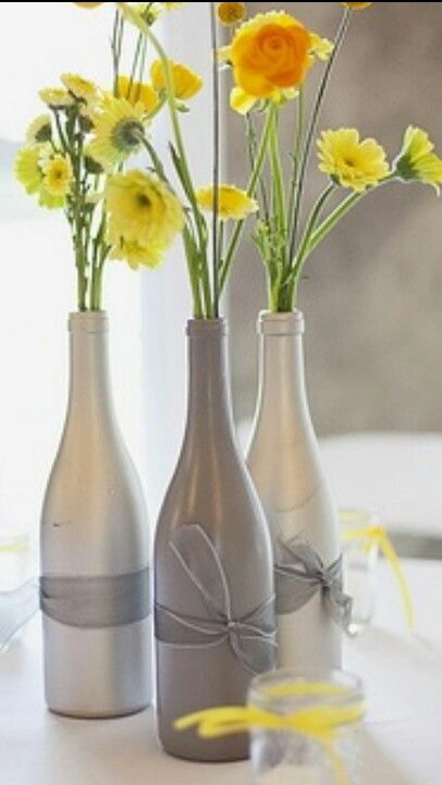 Wine bottles recycled centerpiece a little