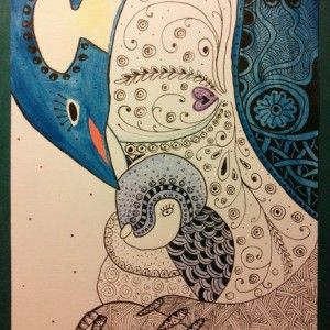 Mama and baby penguin Zentangle art. Zana's Cards measure 7.2″ x 5.2″, or 18cm x 13cm.They also include an envelope for you to use to send your cards. #penguinzentangle #zentanglecard #zentangleart #zanascards www.zanascards.com
