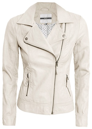 White leather jacket. I ABSOLUTELY love this! id ruin it so fast, but its so cute