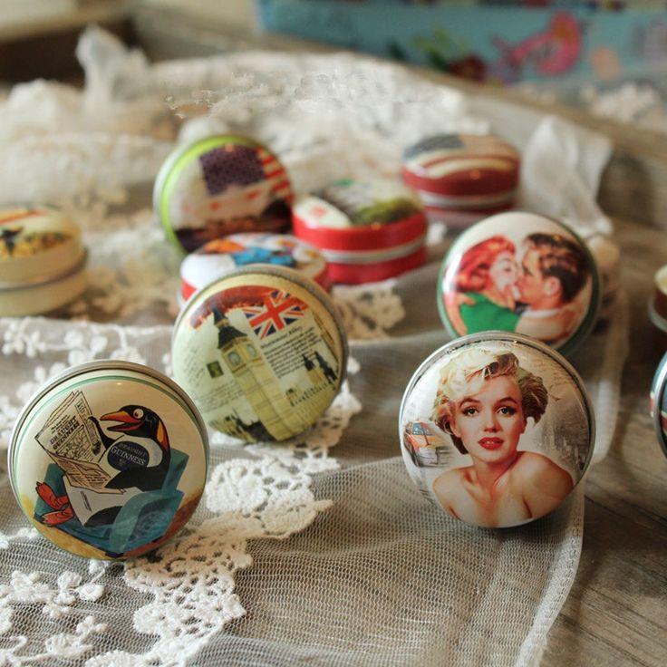 48 pcs/lot European Vintage Mini Tin Candy Box for Romantic Wedding Party Gifts, Metal Jewelry Storage Makeup Organizer Case