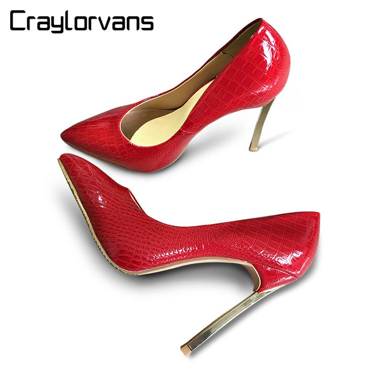 Craylorvans Top Quality Crocodile Pattern Women Shoes Ladies Thin High Heels Pointed Toe Party Women Pumps  Weeding Shoes