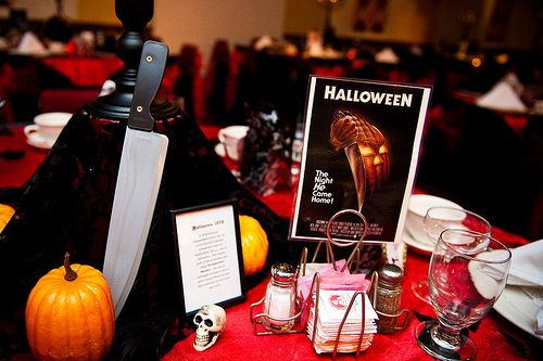Jessi & John's horror film, Rocktober 31st wedding | Offbeat Bride  My centerpieces each had a theme of a different classic horror film that John and I love.