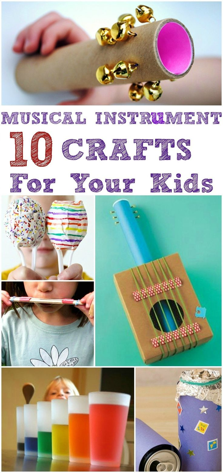 "Shake, rattle and roll! Check out these top 10 musical instrument crafts for kids and start your own fam jam! (via ""Mom Junction"")"