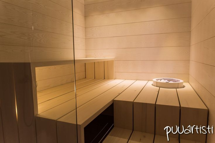 Modern and minimal design Finnish sauna. Design by Puuartisti, Finland.
