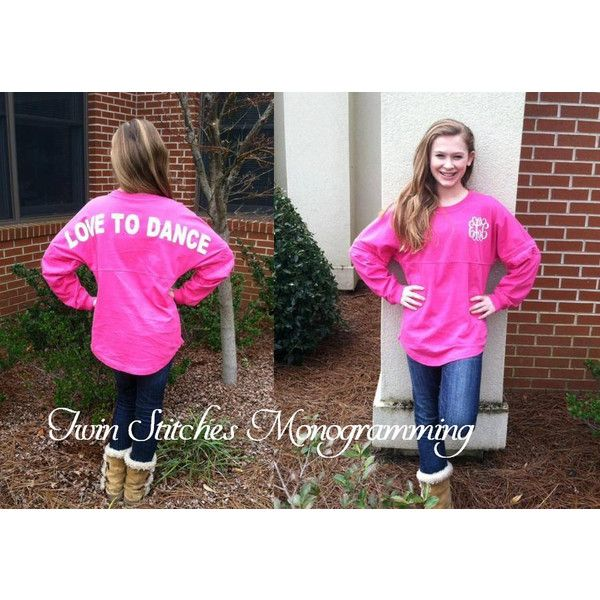 Monogram Spirit Shirts Spirit Jersey Pom Pom Shirts Customize Your... ($40) ❤ liked on Polyvore