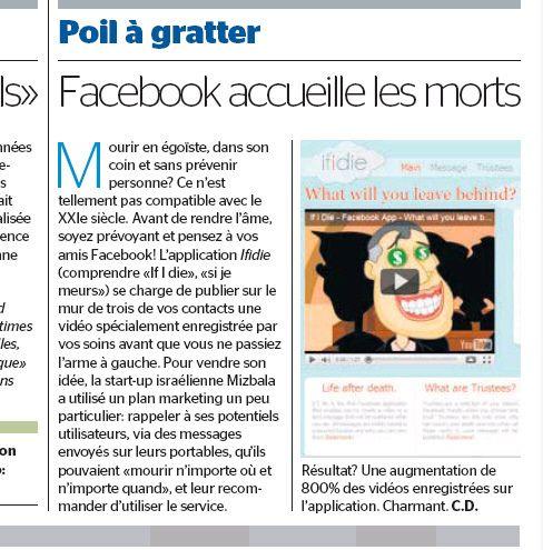 if i die - the digital afterlife facebook app on the Tribune De Geneve.