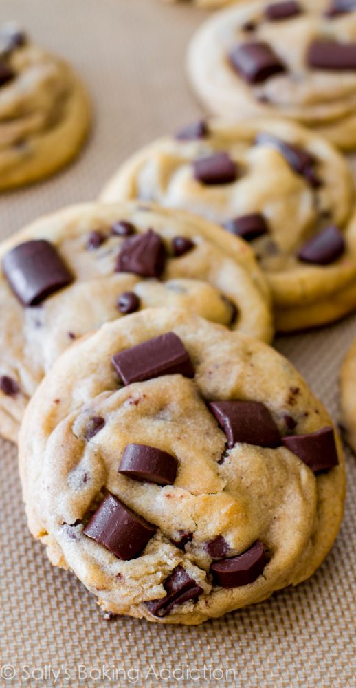 The chewiest chocolate chip cookies. This recipe has been pinned over 1 million times - they are a must try!