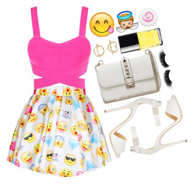 """Emoji skirt"" by felytery ❤ liked on Polyvore featuring Giuseppe Zanotti, Valentino, eylure, Chanel, Charlotte Russe and emojifashion"
