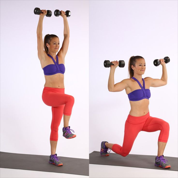 Reps: 10, each leg  Stand on your left leg with your right knee up. Bring both weights overhead to start. S...