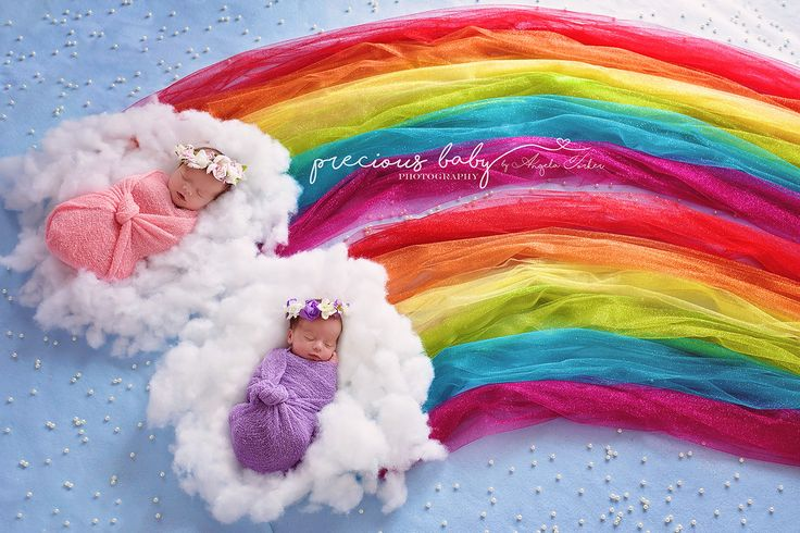 Amazing photo of twins sleeping on clouds with a double rainbow. girls Rainbow babies Baby ImaginArt baby scene newborn Precious baby photography  Angela Forker unique Fort Wayne New Haven Indiana