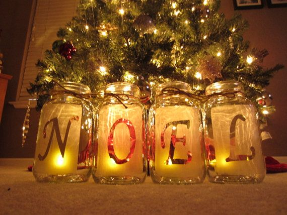 NOEL Christmas Jars, Mason Jar Christmas, Mason Jar Centerpiece