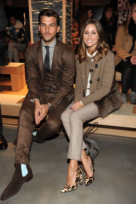 Olivia Palermo and Johannes Huebl at the Ermenegildo Zegna Fall 2012 runway show.  Love Olivia's leopard print pumps by Mulberry!